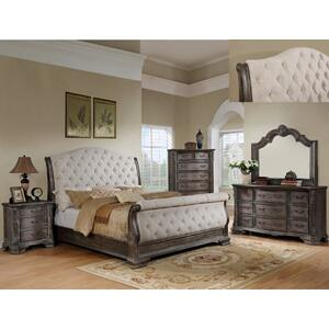 Sheffield Q Sleigh Bed Hb Antq Grey