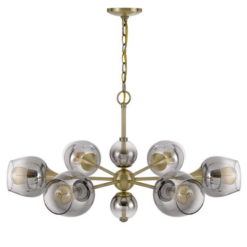 60W x 6 Pendleton metal chandelier with electoral plated smoked glass shades