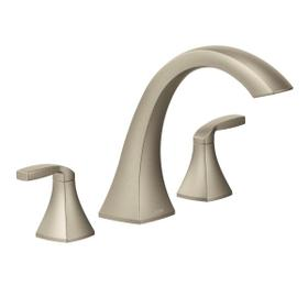 Voss brushed nickel two-handle roman tub faucet