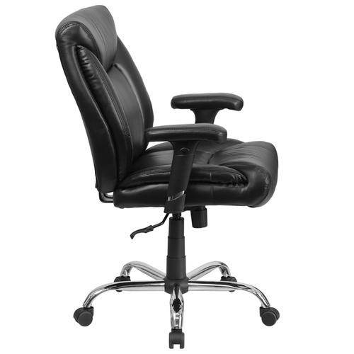 Gallery - HERCULES Series Big & Tall 400 lb. Rated Black LeatherSoft Deep Tufted Ergonomic Task Office Chair with Adjustable Arms