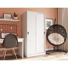 5661 - 100% Solid Wood 2-Sliding Door Wardrobe - White