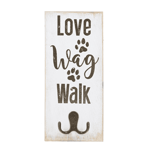 Pet Leash Wall Hook Plaque - Single Hook - Love Wag Walk