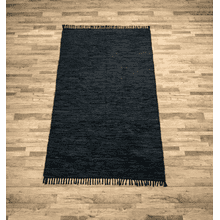 See Details - Black Leather Chindi 5x8 Rug (Each One Will Vary)