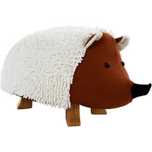 See Details - Critter Sitters 16-In Seat Height Plush Hedgehog Animal Shape Ottoman Furniture for Nursery, Bedroom, Playroom, and Living Room Decor, CSHEDGOTT-TAN
