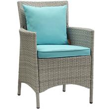Conduit Outdoor Patio Wicker Rattan Dining Armchair in Light Gray Turquoise