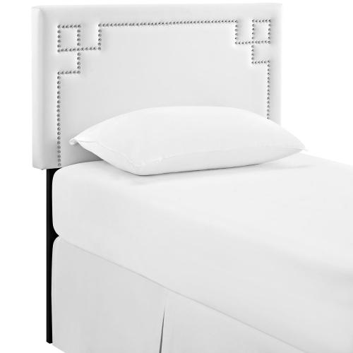 Josie Twin Upholstered Vinyl Headboard in White