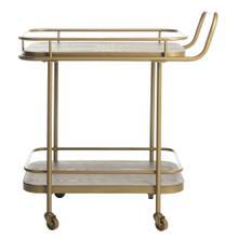 Gaia 2 Tier Rectangle Bar Cart - Rustic Oak / Gold