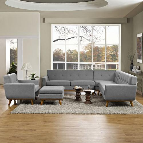 Modway - Engage 5 Piece Sectional Sofa in Expectation Gray