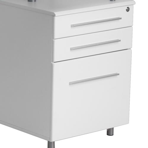 Nanwk021gg In By Flash Furniture, Flash Furniture Frosted Computer Desk With 3 Drawer Pedestal White
