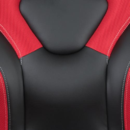 Gallery - Gaming Desk and Red\/Black Racing Chair Set \/Cup Holder\/Headphone Hook\/Removable Mouse Pad Top - 2 Wire Management Holes