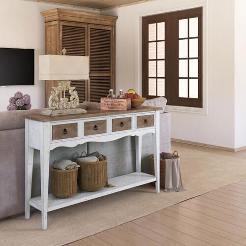 Two Drawer Console Table in Antique White & Brown