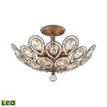 Evolve 6-Light Semi Flush in Weathered Zinc with Clear Crystal - Includes LED Bulbs