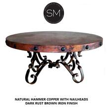 """High End Coffee Table Snazzy Scroll Round Hammer Copper Top w/ Nailheads - 38""""Rd / Natural Hammer Copper / Dark Rust BRown"""