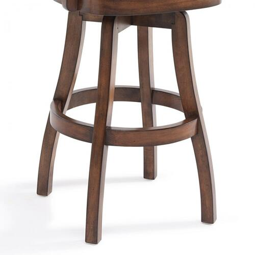 "Armen Living Raleigh Arm 30"" Bar Height Swivel Wood Barstool in Chestnut Finish and Kahlua Faux Leather"