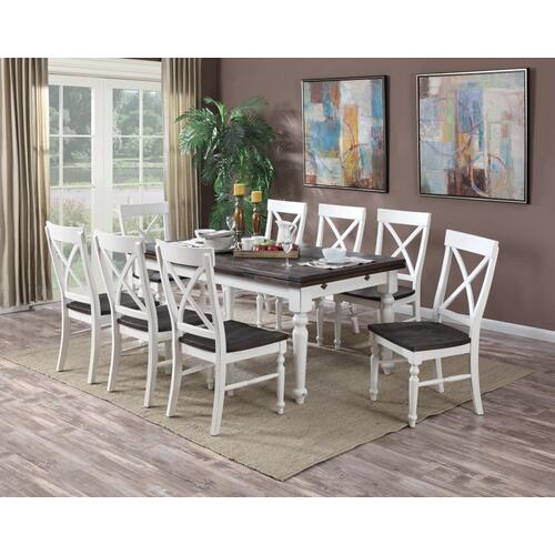 Emerald Table & 8 Chairs Antique White and Dark Mocha