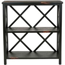 Lucas Low Etagere - Distressed Black