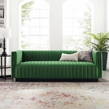 Conjure Channel Tufted Velvet Sofa in Emerald
