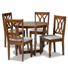 See Details - Baxton Studio Aggie Modern and Contemporary Grey Fabric Upholstered and Walnut Brown Finished Wood 5-Piece Dining Set