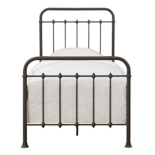 Curved Corner Metal Twin Bed in Brown