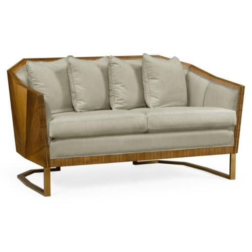 """60"""" Walnut Bookmatched Sofa, Upholstered in MAZO"""