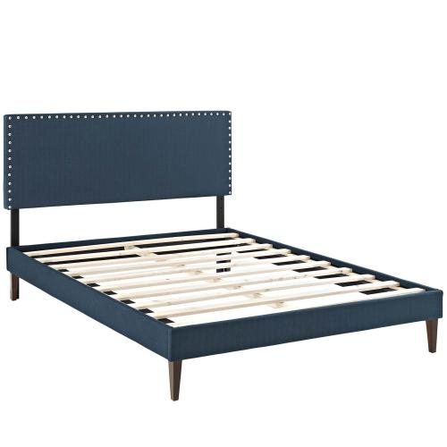 Macie Full Fabric Platform Bed with Squared Tapered Legs in Azure