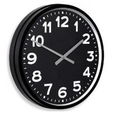 See Details - OLD SCHOOL  22in w X 22in ht X 4in d  Metal Wall Clock with Basic White Numbers and Black Face