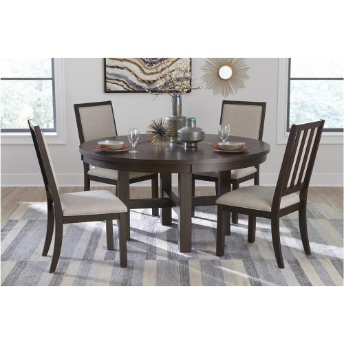 5pc Round Dining Table with Lazy Susan and 4 Chairs