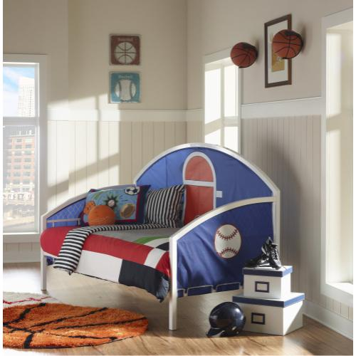 Reversible Basketball and Baseball Theme Daybed, White
