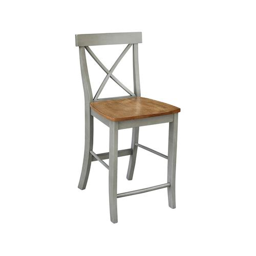 X-Back Stool in Hickory Stone