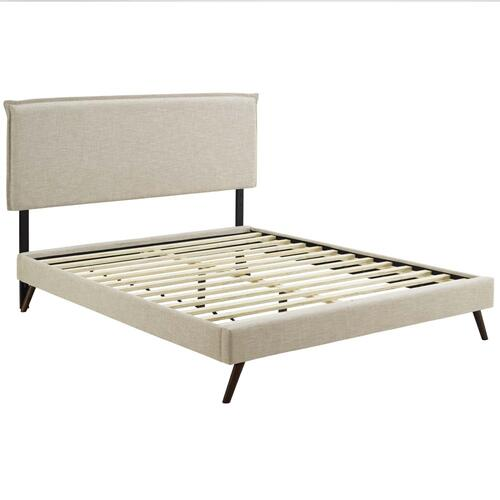 Amaris Queen Fabric Platform Bed with Round Splayed Legs in Beige