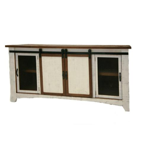 """L.M.T. Rustic and Western Imports - Terra White 72"""" TV Stand W/Sliding Doors"""