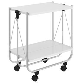 Sumi 2-Tier Bar Cart in White/Chrome