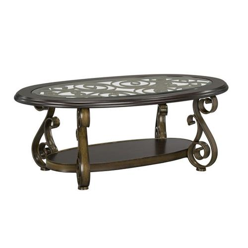 Bombay Oval Cocktail Table with Glass Top, Brown