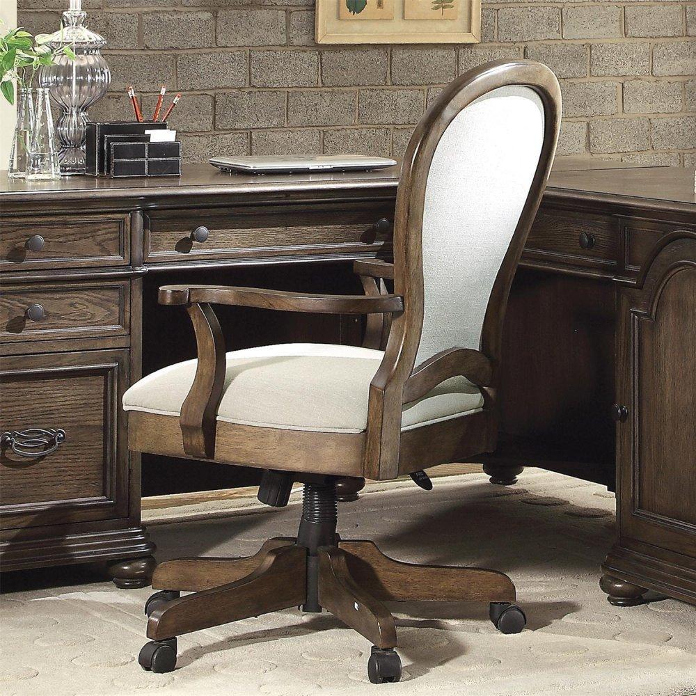 See Details - Belmeade - Round Back Upholstered Desk Chair - Old World Oak Finish