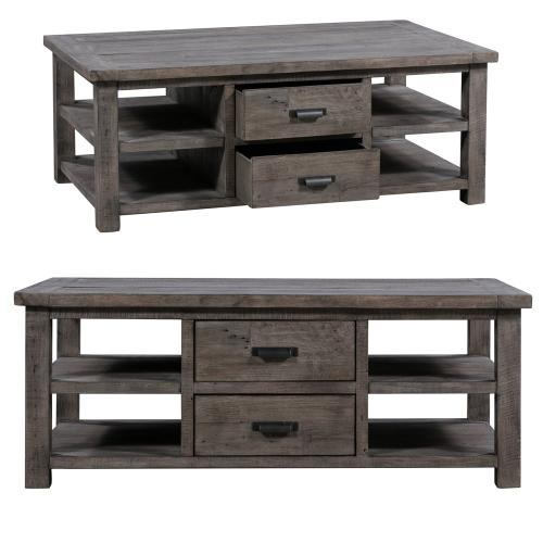 Pembroke Plantation Recycled Pine Distressed Grey 2 Drawer Rectangle Cocktail Table