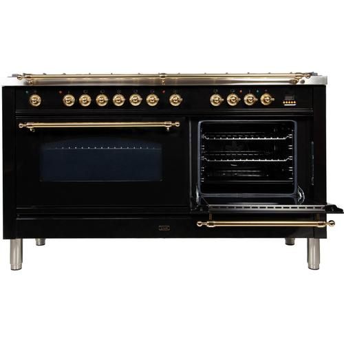 Nostalgie 60 Inch Dual Fuel Liquid Propane Freestanding Range in Glossy Black with Brass Trim