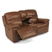 See Details - Fenwick Leather Power Reclining Loveseat with Console and Power Headrests