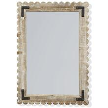 See Details - ROUTER WASHED MIRROR  23in w. X 32in ht. X 1in d.  White Washed Wood with Metal Bracket Framed Wal