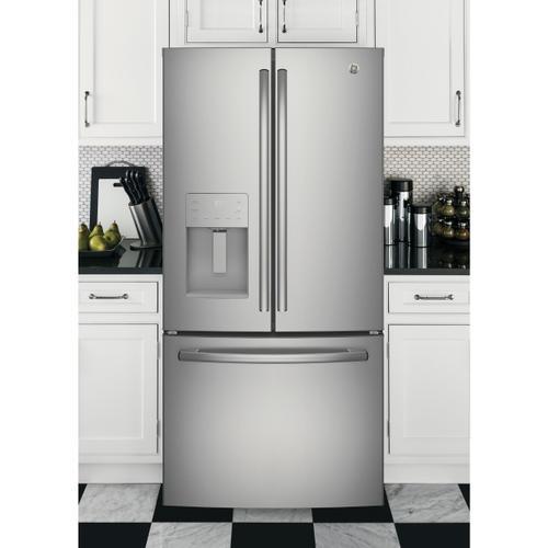 GE Appliances - GE® ENERGY STAR® 17.5 Cu. Ft. Counter-Depth French-Door Refrigerator