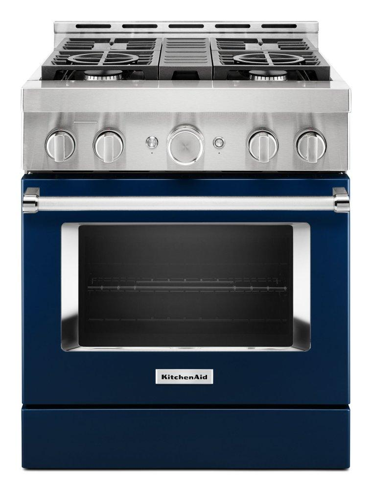 KitchenaidKitchenaid® 30'' Smart Commercial-Style Gas Range With 4 Burners - Ink Blue
