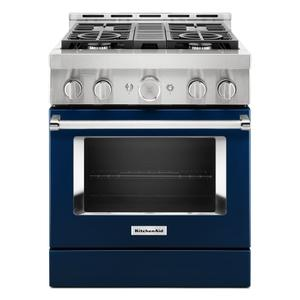 KitchenAid® 30'' Smart Commercial-Style Gas Range with 4 Burners - Ink Blue Product Image
