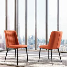 View Product - Armen Living Maine Contemporary Dining Chair in Matte Black Finish and Orange Fabric - Set of 2