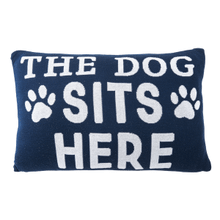 """See Details - """"The Dog Sits Here"""" Lumbar Knit Pillow"""