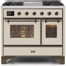 Majestic II 40 Inch Dual Fuel Liquid Propane Freestanding Range in Antique White with Bronze Trim