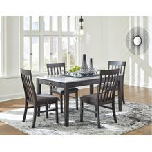 5 PIECE SET (FAUX MARBLE TABLE AND 4 SIDE CHAIRS)