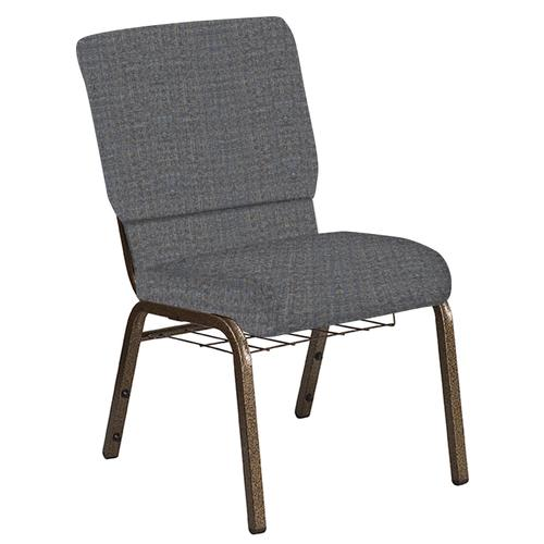 Flash Furniture - 18.5''W Church Chair in Interweave Earth Fabric with Book Rack - Gold Vein Frame