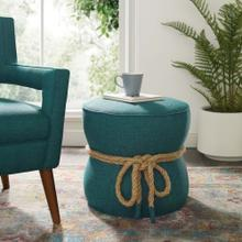 See Details - Beat Nautical Rope Upholstered Fabric Ottoman in Teal