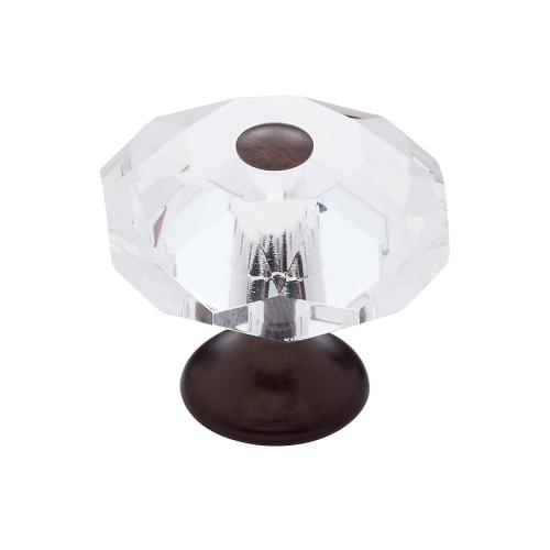 Old World Bronze 35 mm 8-Sided Crystal Knob