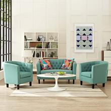 Prospect 3 Piece Upholstered Fabric Loveseat and Armchair Set in Laguna