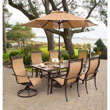 Hanover Monaco 7 Pc. Dining Set with Umbrella- Two Swivel Chairs, Four Dining Chairs, and a 40 x 68 in. Table with Umbrella, MONACO7PCSW-SU